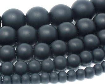 "Matte Black Onyx Beads Natural Gemstone Round Loose - 4mm 6mm 8mm 10mm 12mm - 15.5"" Strand"