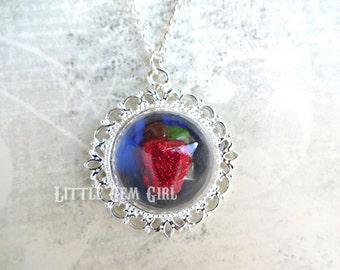 Snow White Poison Apple Necklace - Silver Victorian Fairytale Jewelry - Once Upon a Time Necklace - Evil Queen Apple Glass Dome Necklace