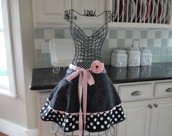 Little Black Apron -    Women's Cute HALF Apron -  Pink & Black - Annabelle Style - 4RetroSisters