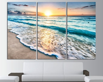 Sunset Beach Wall Art Tropical Print Ocean View Beach Canvas Art Beach  Poster Ocean Wall Decor