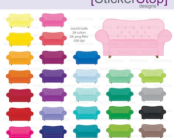 Couch Sofa Digital Clipart - Instant download PNG files
