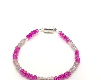 Pink crystal bracelet, pink jewelry, light pink crystal bracelet, light pink bracelet