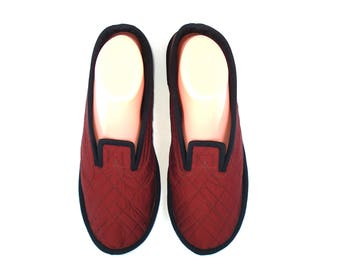 Red Taffeta Women's Slippers, Wool House Slippers, House Slippers Women, Womens Wool Shoes, Warm Slippers, Indoor Slippers, Gift for Her