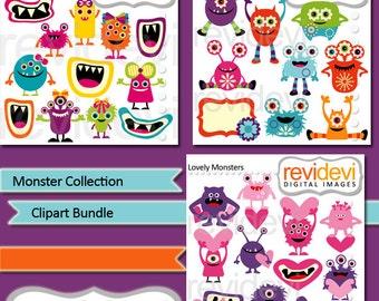 Monsters clipart sale / Monster clip art bundle / colorful cute monster, monster grins, valentine / commercial use, instant download