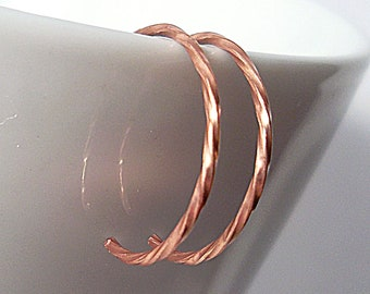 Tiny Modern Twisted Copper Hoop Earrings