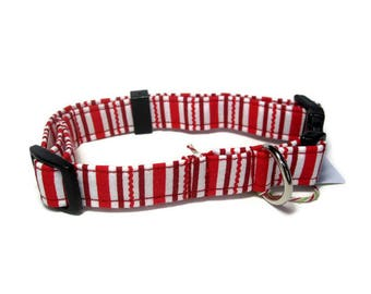 Christmas Stripes Dog Collar size Small
