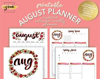 2017 Printable Planner | Daily Planner | Weekly Planner |Monthly Planner |  August Planner |