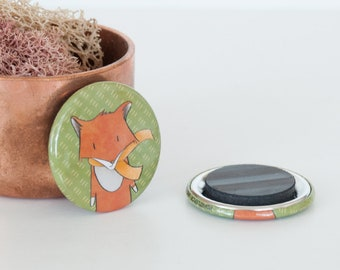 Red Swift Fox Magnet, Woodland Forest Animal Magnet, Animal Button Magnets, Fox Illustrations, Endangered Species Magnet