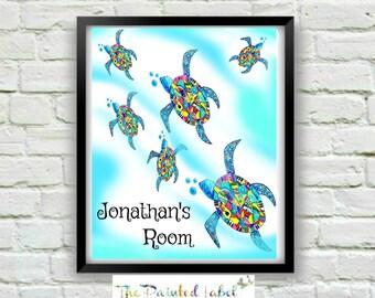 Turtle Art Print- Kids Room Decor- Sea Turtle Art- Nursery Art-Turtle Painting-Turtle Print-Coastal Wall Art- Baby's Room Art-
