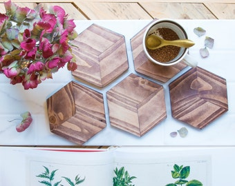 5 x Wooden Hexagon Coaster set