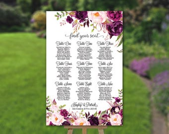 Wedding Seating Chart, Table Seating Plan, Wedding Sign, Find Your Seat, Guest List, Plum Purple Flowers, Cheap DIY Printable PDF (SC30)