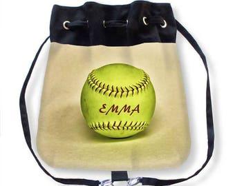Softball Cinch Bag-Softball Backpack-Cinch Sack Backpack-Custom Sports Bag-Softball Bag-Crossbody Bag-Messenger Bag-Softball Purse