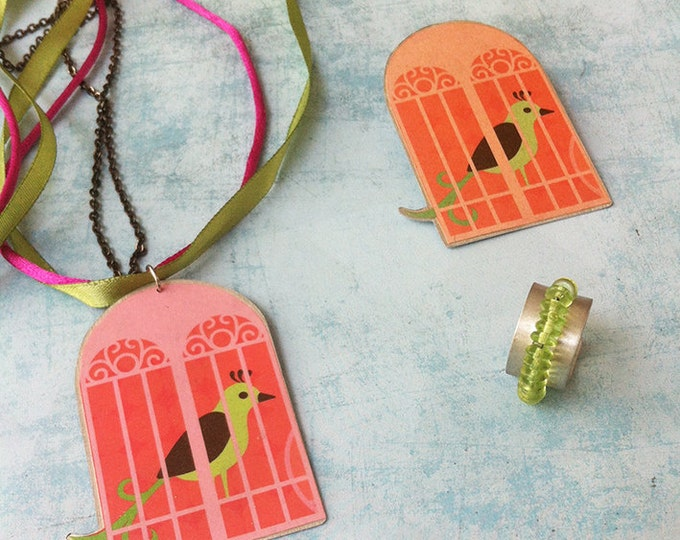 Jewelry set - paper jewelry - long necklace - paper brooch -bird necklace and brooch -discount -bead ring adjustable size- bird cage brooch