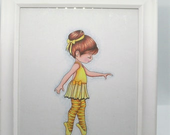 3 ballerina in a 8x10 white frame. In a yellow outfit