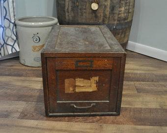 Vintage Oak Single Drawer Filing Cabinet