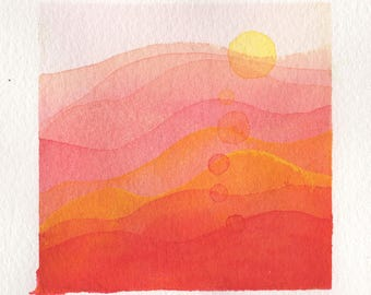 Mini Watercolor Painting Abstract Surreal Landscape - Peach