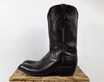 Lucchese Cowboy Boots Dark Red and Black Oxblood Red Western Boots Size 12 B Mens Boots