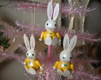 vintage easter wood bunny ornaments Spring home decor
