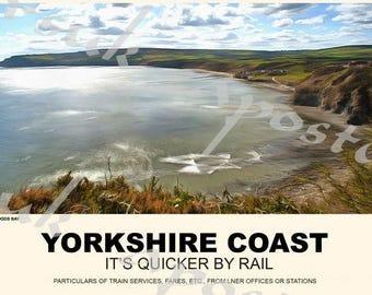 Vintage Style Railway Poster Robin Hoods Bay Yorkshire Coast A3/A2 Print