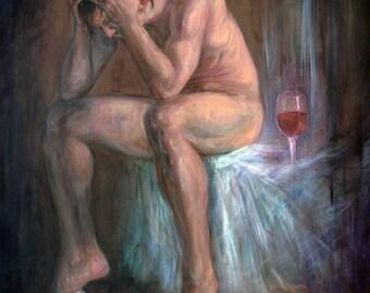 Original Acrylic Painting Of A Nude Male Model, Mouse And Wine Glasses, Canvas Size 70x60 cm/ Originale Acryl Gemälde auf Leinwand, 70x60 cm