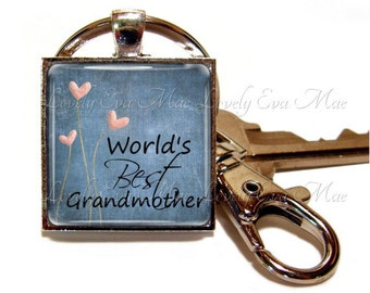 Word's Best Grandmother Keychain, Grandmother Key Chain, Blue Square, Grandmother Key Fob, with Clip, Key Fob with Clasp,  Grandmothers Gift