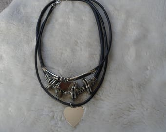 ring  heart metal leather necklace set