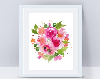 Flower print, Peony print, Cherry blossoms, Flower art, Watercolor flowers, Nursery decor, Wall art print, Flower painting, Floral painting