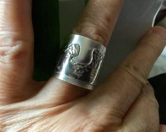 925 silver ring, double, Hokusai, sea waves, handmade, unique, adjustable.