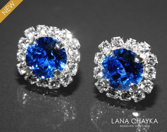 Sapphire Crystal Halo Earrings Swarovski 8mm Blue Rhinestone Hypoallergenic Earring Studs Royal Blue Cobalt Silver Bridesmaids Earrings