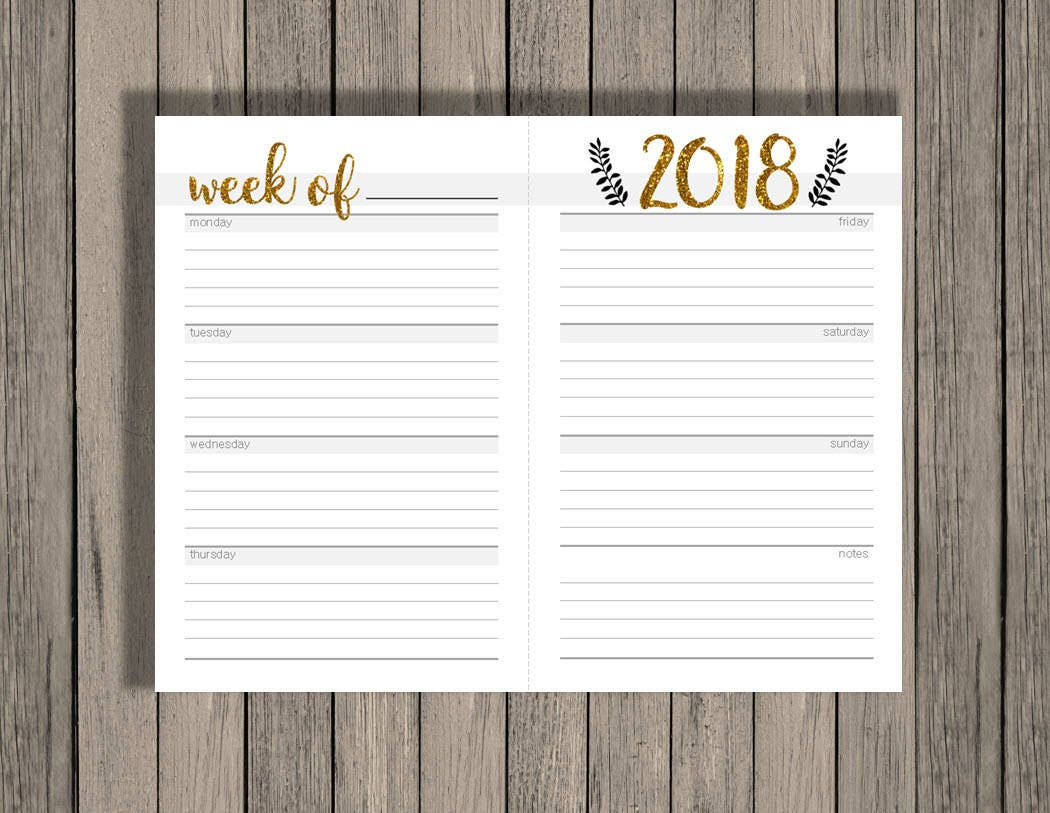 printable calendar weekly 2018