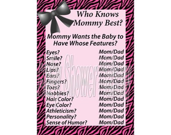 Pink Zebra Print Baby Shower Game, Who Knows Mommy Best Game, Pink Zebra Theme Baby Shower Game, Instant Download Baby Shower Game for Girl
