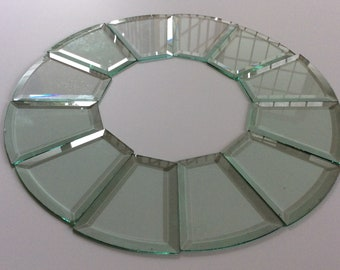 Beveled Glass - vintage -  chandelier - clear glass - glass pieces - craft supplies - DIY projects  - vintage salvage