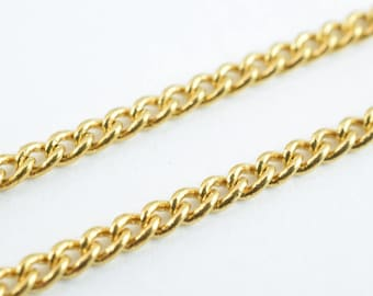 "Gold Filled Curb Chain 18KT Gold Filled Size 17"" Long 2mm Width 1mm Thickness  Item #CG114"