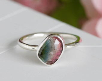 Gemstone Ring, Rose Cut Natural Tourmaline Ring, Faceted Tourmaline Ring, Delicate Ring, Sterling Silver Ring