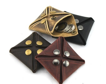 Leather Coin Purses That Can Open From Any Side, Leather Change Purse, Men's Change Pouch, Leather Wallet For Coins, Coin Holder