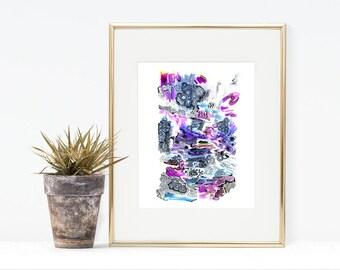 Abstract Watercolor Art Print - Small Watercolor Art - 8x10 Colorful Art Print - Housewarming Small Art- Colorful Abstract Art Print