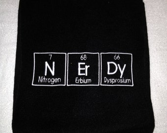 Ready to Ship NErDy Scarf Periodic Table Letters Chemistry Nerd Science Geek  - BLACK