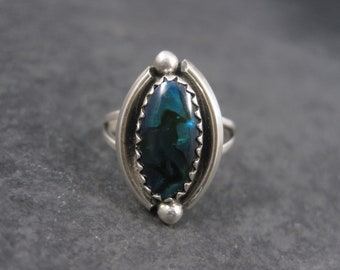 Vintage Southwestern Sterling Paua Shell Ring Size 4