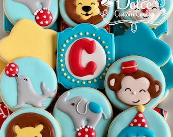 Circus Carnival Animal First Birthday Cookies