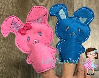 Handmade Set of 2 Boy and Girl Bunny Finger Puppets, Finger Puppet, Puppet, Bunny Puppets, Bunnies, Bunny, Easter, Easter Finger Puppet