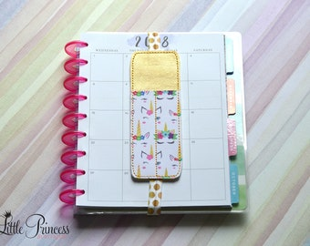 Unicorn Pen Holder, Planner Bookmark, Planner Pen Holder,  Pen Pouch, Unicorn Bookband