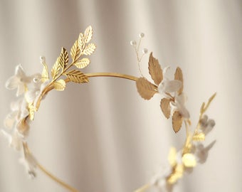 Gold flower crown, gold tiara, goddess flower crown, gilded headpiece, whimsical wedding crown, golden hair accessory, boho bridal headpiece