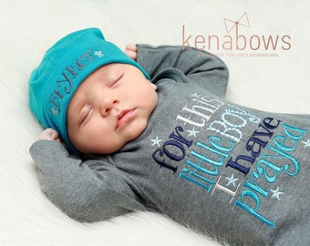 Newborn Baby Gown: Grey Infant Boy Gown, For This Little Boy I Have Prayed, New Baby Shower Gift, Personalized Cotton Beanie Hat