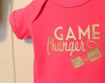 Game Changer, Baby Infant Bodysuit Creeper T-shirt Funny Humorous 80's Geek Gamer Custom Sizes