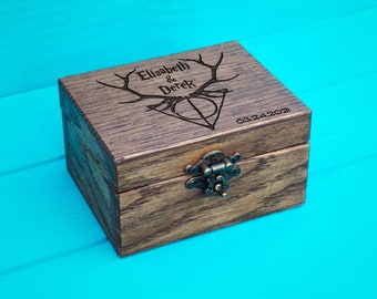 Harry Potter Wedding - Ring Box - Personalized Ring Box - Wood Wedding - Wood Anniversary Gift - Ring Box Harry Potter - wedding bearer box