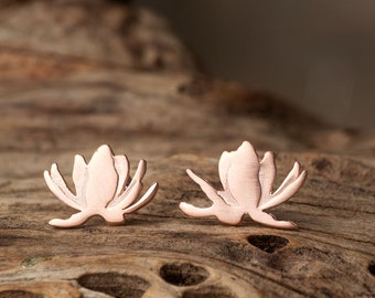 Rose Gold Lotus Earrings Flower Studs Sterling Silver Floral Water Lily Orchid Earrings gift for her Yoga Mom Sale stocking stuffer