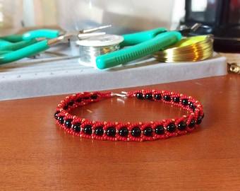 Red/Black/Gold Bracelet or Anklet
