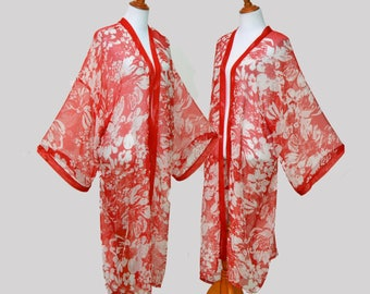 V day kimono, red flowers robe, red trim robe, lady in red, red cardigan robe, sheer kimono, Valentine present, honeymoon kimono