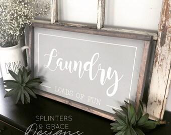 Laundry Loads of Fun sign, Laundry sign, farmhouse decor
