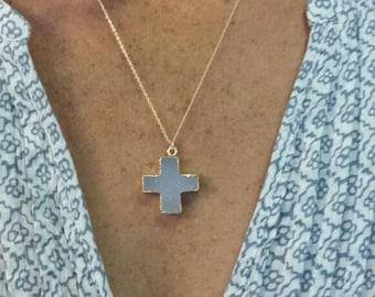 Druzy Cross, Natural Druzy, Druzy Necklace, Gold Necklace, Cross, Cross Necklace, Druzy